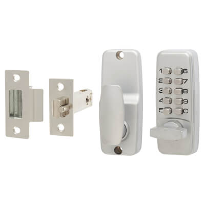Mini Digital Code Operated Lock - Satin Chrome)