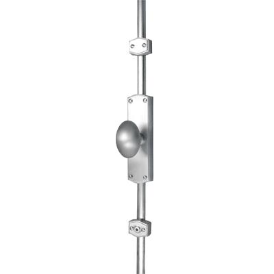 French Style Oval Knob Locking Espagnolette Bolt - Satin Chrome)