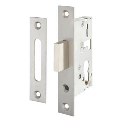 SAG Narrow Stile Dead Lock - 40mm Backset - Satin Stainless Steel)