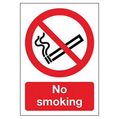 No Smoking - 210 x 148mm - Rigid Plastic)