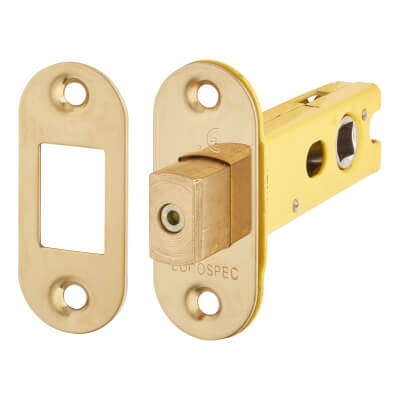 Altro 8mm Tubular Bathroom Deadbolt - 76mm Case - 57mm Backset - Radius - PVD Brass