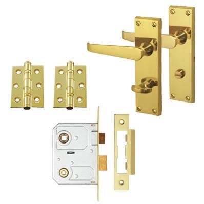 Aglio Victorian Handle Door Kit - Bathroom Lock Set - Polished Brass