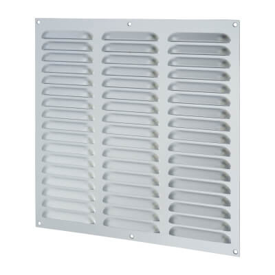 Hooded Louvre Vent - 305 x 305mm - 19869mm2 Free Air Flow - Satin Aluminium)