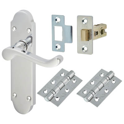 Aglio Victorian Summer Door Handle Kit - Latch Set - Polished Chrome)