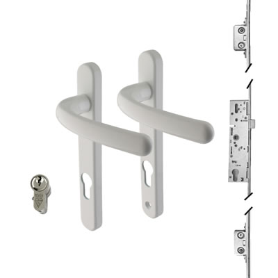 3 Point Multipoint Lock Kit with Windsor Handle - 35mm Backset - White)
