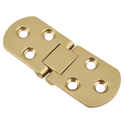 Counter Flap Hinge - 80 x 30 x 2.5mm - Polished Brass - Pair