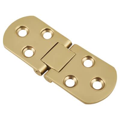 Cabinet Flap Hinge - 80 x 30 x 2.5mm - Polished Brass