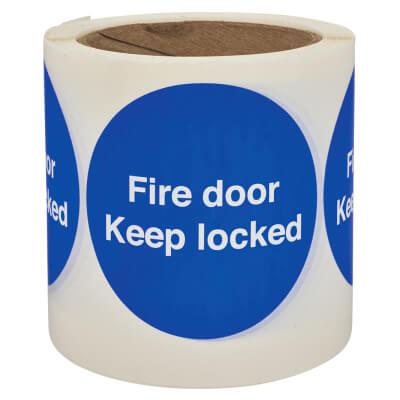 Self Adhesive Vinyl Labels - Fire Door Keep Locked)