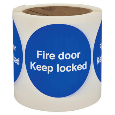 Self Adhesive Vinyl Labels - Fire Door Keep Locked)