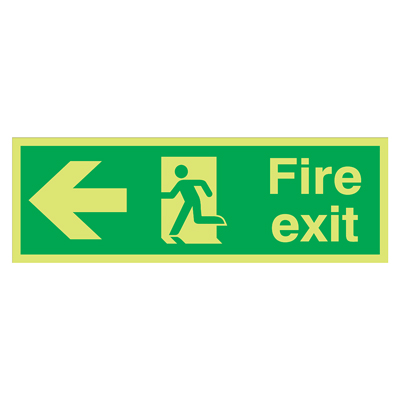 NITE-GLO Fire Exit Running Man - Arrow Left - 150 x 450mm)