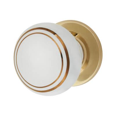 Elan Designer Mortice/Rim Door Knob - 57mm - White Porcelain/Gold )