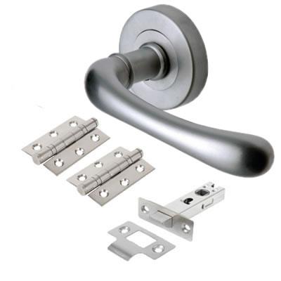 M Marcus Donna Door Handle - Door Kit - Satin Chrome)