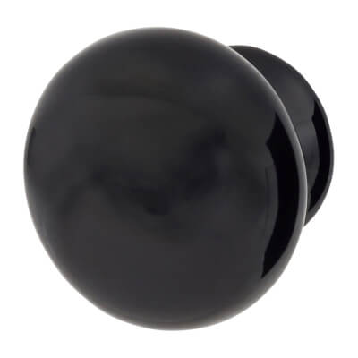 Elan Ceramic/Porcelain Cabinet Knob - 30mm - Black)