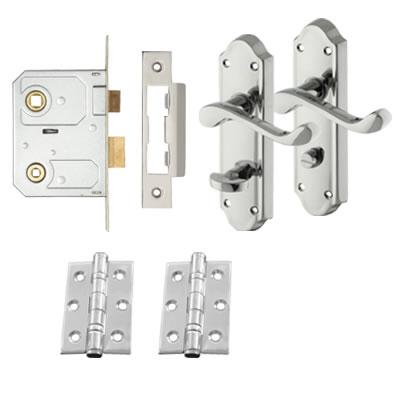 Aglio Ashmead Handle Door Kit - Bathroom Lock Set - Polished Chrome)