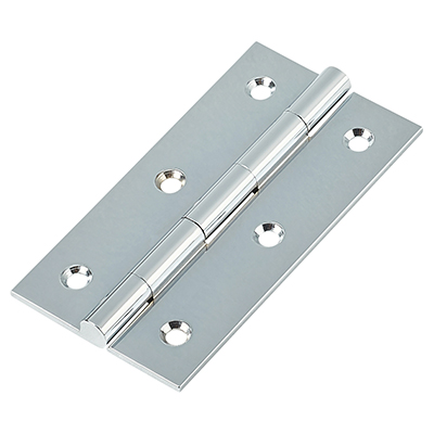 Solid Drawn Hinge - 75 x 40 x 2.0mm - Polished Chrome