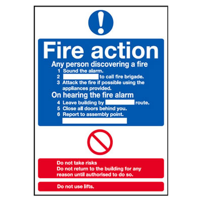 Standard Fire Action Notice - 300 x 250mm - Rigid Plastic)