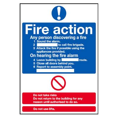 Standard Fire Action Notice - 300 x 250mm - Rigid Plastic)