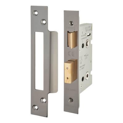 A-Spec Architectural Bathroom Lock - 65mm Case - 44mm Backset - Black Nickel)