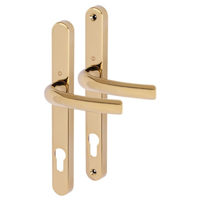 Hoppe Tokyo Multipoint Handle - uPVC/Timber - 92mm centres - 60-70mm door thickness - Polished Bras