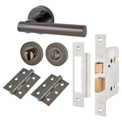 Touchpoint Bella Lever Door Handle - Bathroom Lock Kit - Black Nickel)