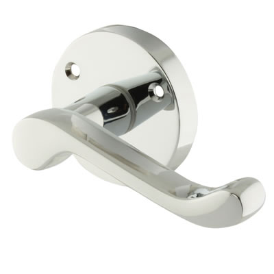 Carlisle Brass Victorian Scroll Lever Door Handle on Rose - Polished Chrome)