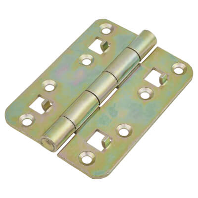 Strong Pressed Steel Security Hinge - 100 x 74 x 2.5mm - Yellow Zinc Plated