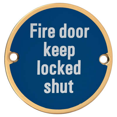 Fire Door Keep Locked Shut - 75mm - Polished Brass)