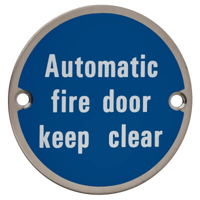Automatic Fire Door Keep Clear - 75mm - Satin Stainless Steel)