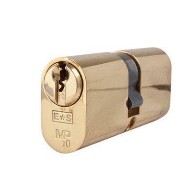 Eurospec MP10 - Oval Double Cylinder - 35 + 35mm - Polished Brass  - Keyed Alike)