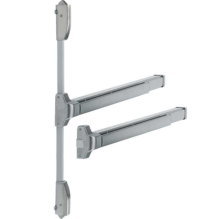 Arrone® Touchbar Rebated Double Door Panic Bar Set - Satin stainless Silver