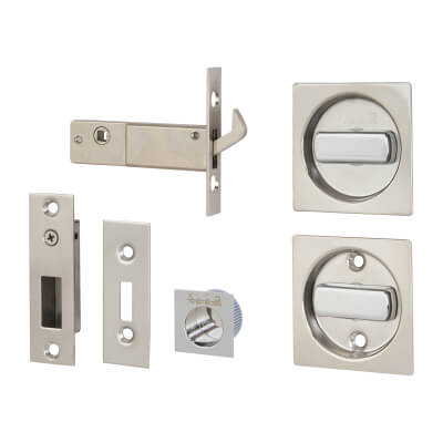 KLÜG Square Flush Handle Set with Latch - Stainless Steel Grade 304 - Polished)
