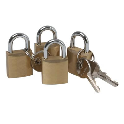 Solid Brass Padlock - 20mm - Pack of 4 Same Key