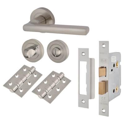 Touchpoint Sophia Lever Door Handle - Bathroom Lock Kit - Satin Nickel