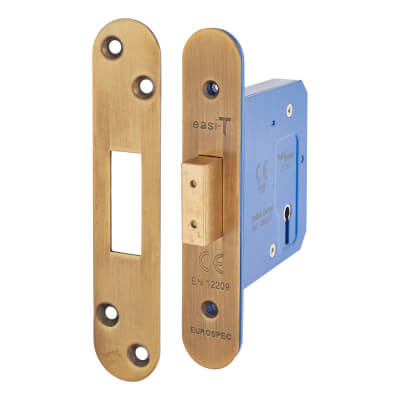 A-Spec Architectural 3 Lever Deadlock - 78mm Case - 57mm Backset - Radius - Florentine Bronze