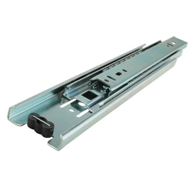 Motion 45.5mm Ball Bearing Drawer Runner - Double Extension - 250mm - Bright Zinc Plated