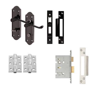 Aglio Ashmead Handle Door Kit - Bathroom Set - Black Nickel)