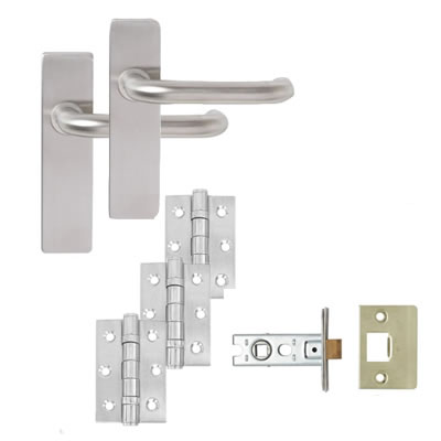 Lever on Backplate Door Kit - Latch Set - Stainless Steel