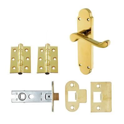 Aglio Victorian Summer Door Handle Kit - Latch Set- Polished Brass