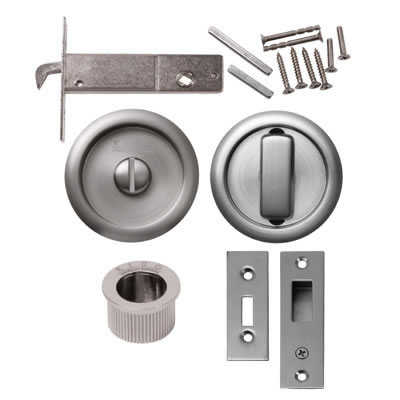 KLÜG Round Flush Privacy Set with Bolt - Satin Nickel)