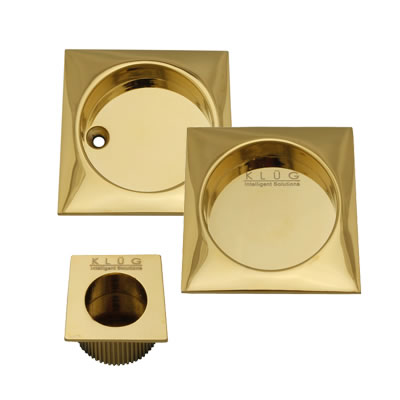 KLÜG Square 3 Piece Flush Handle Set - PVD Brass