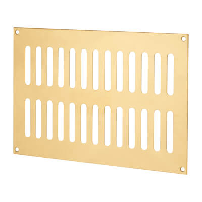 Plain Slotted Vent - 242 x 165mm - 6600mm2 Free Air Flow - Polished Brass