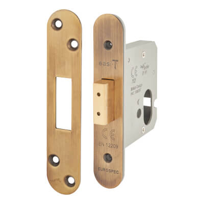 A-Spec Architectural Oval Deadlock - 78mm Case - 57mm Backset - Radius - Florentine Bronze