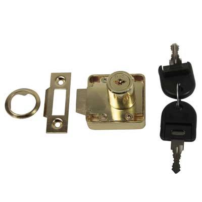 Slam Lock - 19 x 22mm - Keyed Alike Differ 1 - Brass Plated)