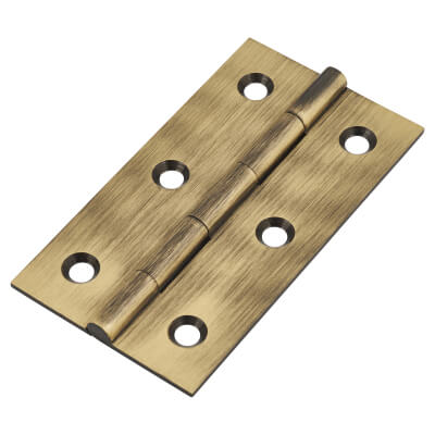 Solid Drawn Hinge - 64 x 35 x 1.45mm - Antique Brass