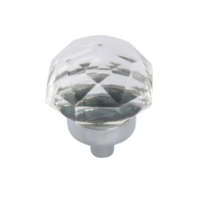 Aglio Floral Coloured Glass Cabinet Knob - 25mm - Polished Chrome/Clear)