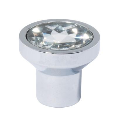 Aglio Flat Crystal Glass Cabinet Knob - 21mm - Polished Chrome)
