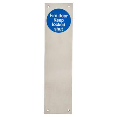 Finger Plate - Fire Door Keep Locked - 300 x 75mm - Satin Stainless Steel