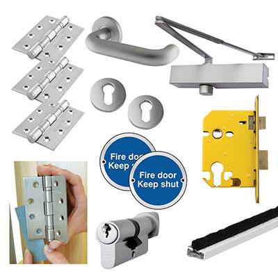 Medium Duty Lever on Rose Fire Door Kit - DIN Euro Sashlock - Aluminium
