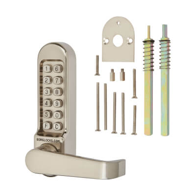 Borg BL5408 Code Operated Panic Access Lock with Flat Bar Lever Handle - Stainless Steel