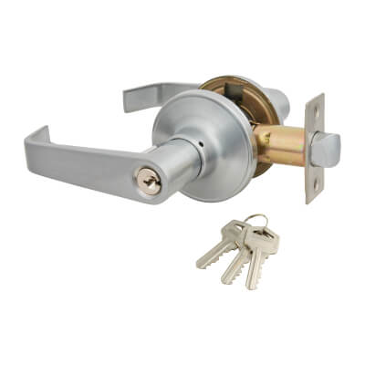 Touchpoint Hotel Door Lever Set - Entrance - Satin Chrome)